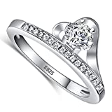 Merthus 925 Sterling Silver 1.8ct Round Brilliant Cubic Zirconia Wedding Ring for Women
