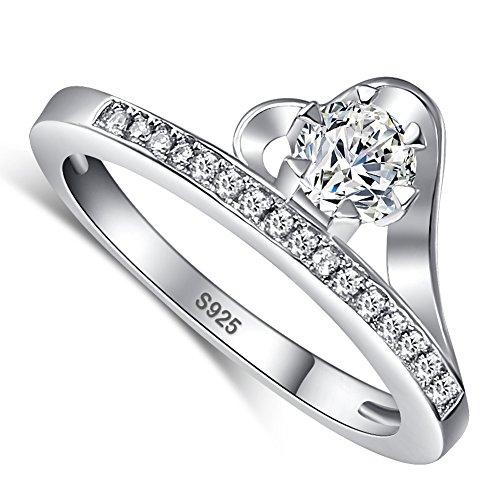 (Merthus Womens 925 Sterling Silver Heart CZ Wedding Ring)