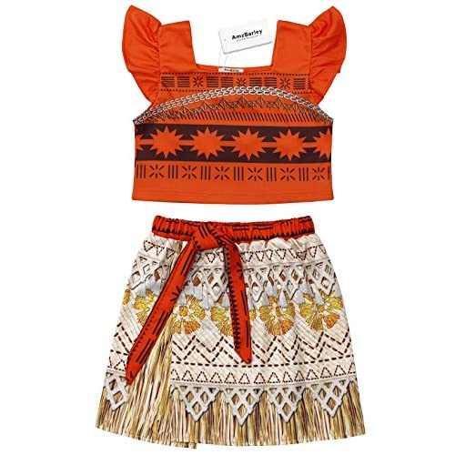 Moana Costume for Girls Dress up Toddler Baby Halloween Cosplay Outfit Little Kids Skirt Sets
