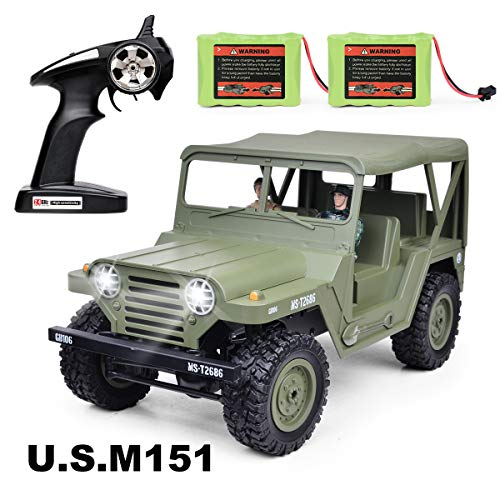 RC Cars, RC Jeep 2.4GHz 4WD Remote Control Car 1: 14 Scale RC Trucks, Electric RC Cars,2 Rechargeable NI-MH Battery,2 Military Doll Off Road Crawlers Toy Car for Adults & Kids,Green ()