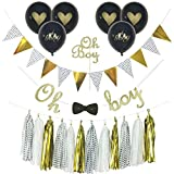 Qutechat Baby Shower Decorations for Boy, Oh Boy Cake Topper, Oh Baby Balloons, Oh Boy Banner with Bow Tie, Gold Glitter, Black Glitter, Tassels, Gold and Black Decorations, Polka dots, Complete Set