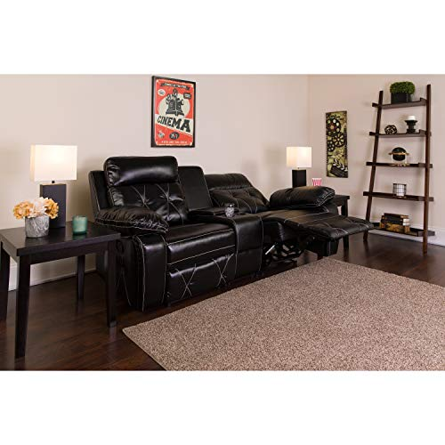 Flash Furniture Reel Comfort Series 2-Seat Reclining Black Leather Theater Seating Unit with Straight Cup Holders