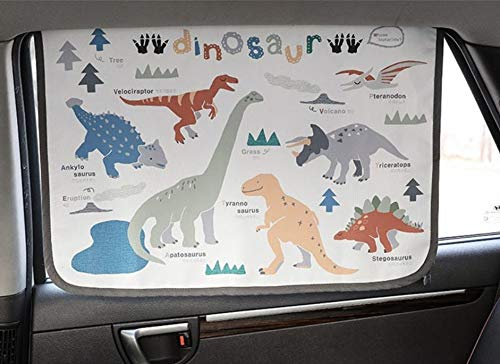 Magnetic Car Sun Shade Curtain for Side Window Baby Kids Children Sunshade Protector Protects from Sun Glare Heat Blocks UV Rays Glare Car Interior Sun Blocker Blind (Dinosaur)