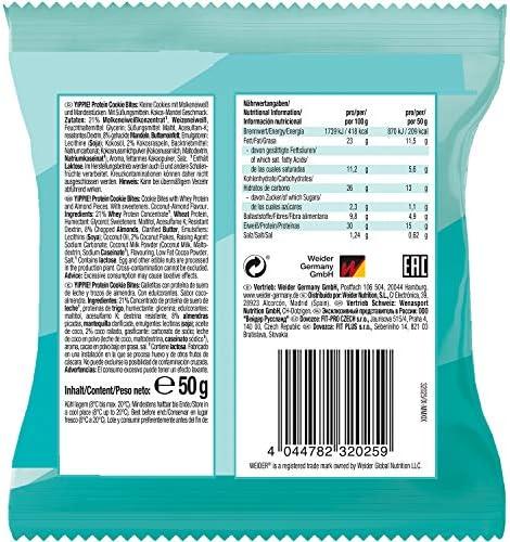 Weider Yippie Bites Galletitas Con Proteína De Suero De Leche Y Trocitos De Chocolate, Sabor Coco-Almendra Crunchy 50 G 30 g