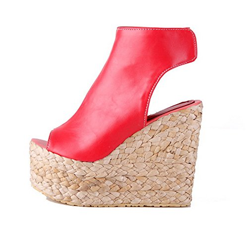 Red Solid High Loop Peep Material Womens Toe Hook Sandals Soft And Heels AllhqFashion g7OwSx