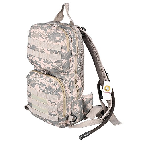 WASING Hydration Pack with 3L Bladder and 2 Additional Pockets. Tough Military Style Backpack Is Perfect for Hiking, Biking, Running, Walking and More. (ACU Camouflage)