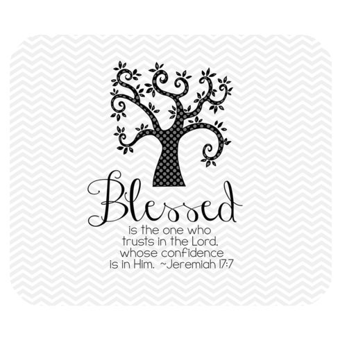 Grey and White Chevron Pattern Bible Verse Mousepad, Blessed Is the One Who Trusts in the Lord Whose Confidence is in Him Jeremiah 17:7 Rectangle Non-Slip Rubber Mousepad Mouse Pads / Mouse Mats Case Cover