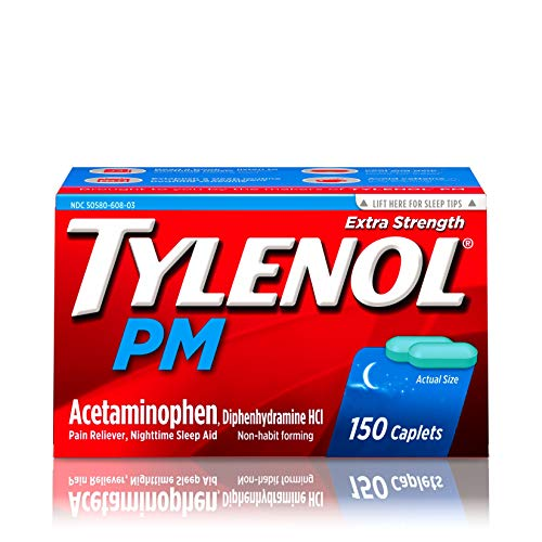- Tylenol PM Extra Strength Pain Reliever & Sleep Aid Caplets with 500 mg of Acetaminophen, 150 ct