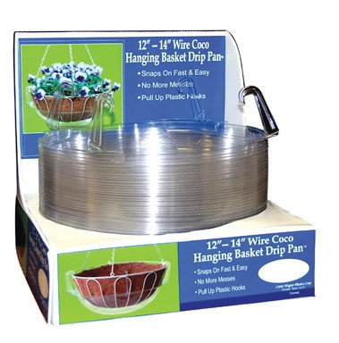 (CWP HB-1214 759188121440 Wire Coco Hanging Basket Drip Pan, 12-Inch/14-Inch, Clear, Pack)