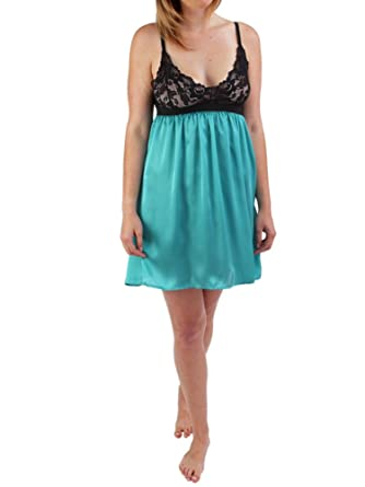 8607772c5 Chemise with Soft Lace Bust in luxuriously silk-like fabric at Amazon  Women s Clothing store