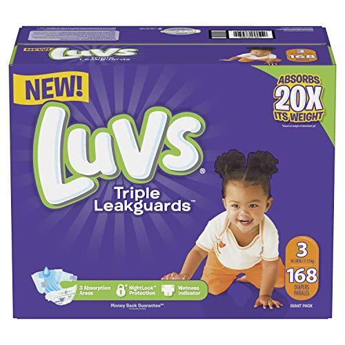 Luvs Triple Leakguards Pañales tamaño 3, 168 unidades