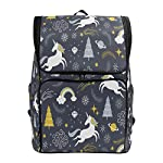 Naanle Chic Cute Cartoon Little Unicorn Galaxy Pattern Casual Daypack College Students Multipurpose Backpack Large Travel Hiking Computer Bag for Men Women