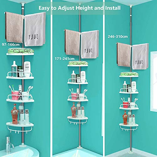 Shower Caddy, 4 Tier Adjustable Tension Shower Caddy , No Drilling Rust Proof Stainless Steel Rod Bathroom Corner Shelf Basket with Hooks