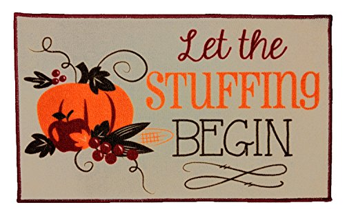 Kitchen Rug Mat Thanksgiving Theme, 18 x 30 Inches with Latex Non Skid Back, Nylon Front, Let The Stuffing Begin