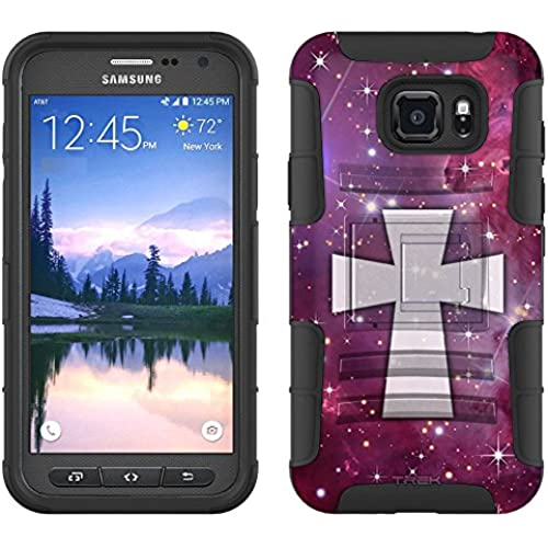 Samsung Galaxy S7 Active Armor Hybrid Case Maltese Cross on Nebula Purple 2 Piece Case with Holster for Samsung Sales