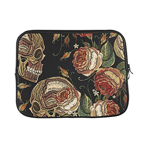 (Design Custom Embroidery Skull Roses Flowers Sleeve Soft Laptop Case Bag Pouch Skin for Air 11
