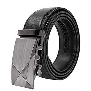 "Men's Belt Genuine Leather Ratchet Belt for Men Black Dress with Automatic Buckle Gift Box 1 3/8"" Wide"