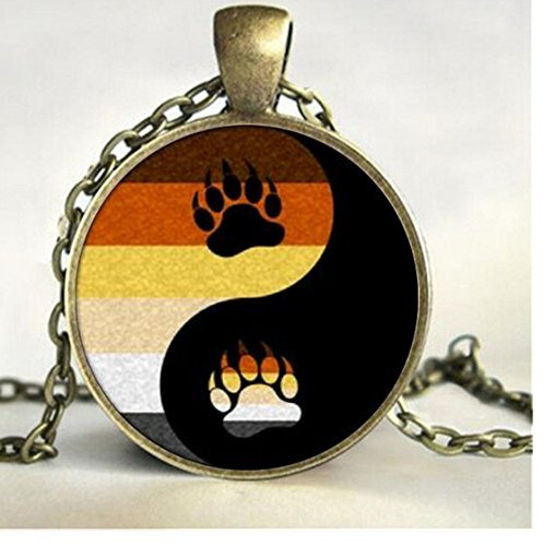 Bear Pride Ying Yang with Paw Gay Pride Photo Charm Pendant, Rainbow Necklace & Pendant ()