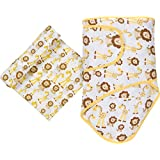 Miracle Blanket & Matching Muslin Swaddle Combo Pack (Giraffes & Lions)