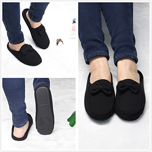 Slippers Memory Organic Toe Ofoot Cute Slip with Foam Cotton Closed Anti Bow Indoor Black Women's Sole Anti Slip 4wwY0q