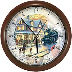 Songbird Essentials Thomas Kinkade All Aboard for Christmas Clock - 8 Acrylic for Desk Or Wall