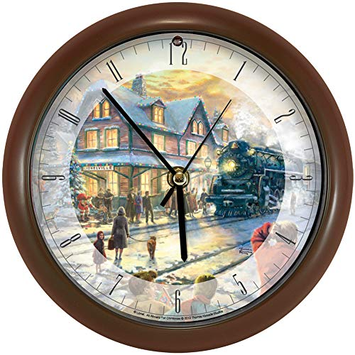 (Mark Feldstein Wall Clock AA Alkaline Eight Inch Thomas Kinkade All Aboard For Christmas With Brown Frame)