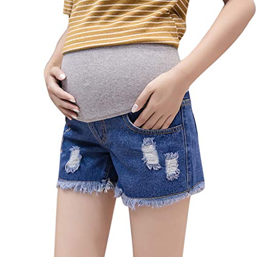 Maternity Women's Maternity Indigo Blue Destructed Secret Fit Belly Bermuda Denim Shorts