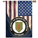 """FLAGERLIN US Army Veteran 1st Infantry Division Flag Outdoor Patio Seasonal Holiday 27""""x37"""" Family Flag"""