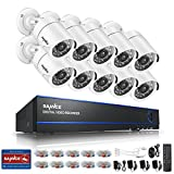 SANNCE 1080N 16 Channel 5-in-1 DVR Video Security System with 10pcs 1500TVL Weatherproof Bullet CCTV Surveillance Cameras, 66ft Night Vision, Phone Access,No Hard Disk Drive