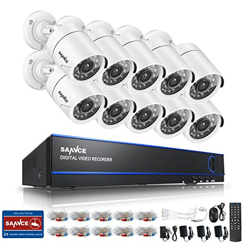 SANNCE 1080N 16 Channel 5-in-1 DVR Video Security System with 10pcs 1500TVL Weatherproof Bullet CCTV Surveillance Cameras, 66ft Night Vision, Phone Access,No Hard Disk Drive by SANNCE