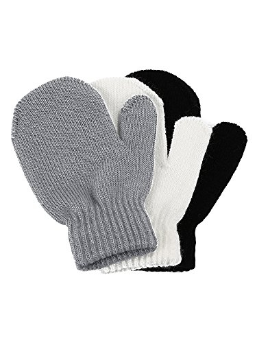 Satinior 3 Pairs Toddler Magic Stretch Mittens Little Girls Soft Knit Mitten Baby Boys Winter Knitted Gloves
