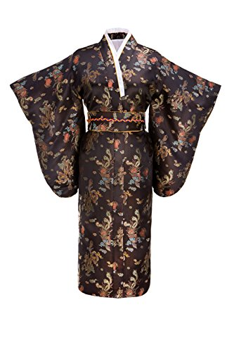 Joy Bridalc Women's Kimono Robe Japanese Traditional Brocade Cosplay Costume,Black Dragon -