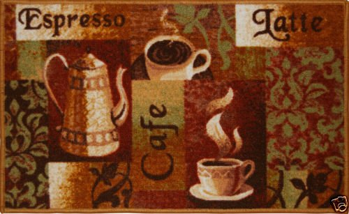 The Pecan Man CLASSICS CAFE ESPRESSO LATTE NON SKID BACK KITCHEN RUG ,1Pcs 18x30