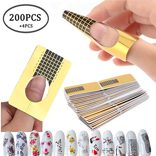 (200PCS Nail Art Tips Extension Forms Guide French DIY Tool Acrylic UV Gel Tools,4PCS Water Transfer Nail Art Stickers Manicure Nail Tips Decorations (AABB010A))