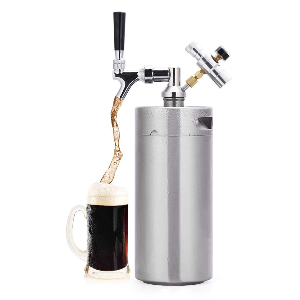 Uttiny Mini Beer Keg, Silver 304 Stainless Pressurized Growler Barrel With CO2 Cylinder, Regulator, and Dipenser For Container Home Brew Beer Or Craft Draught Beer (3.6L(128oz))
