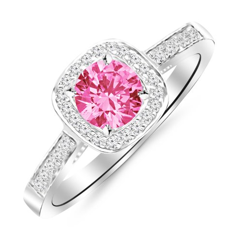 14K White Gold Classic Square Halo Single Row Pave Set Diamond Engaement Ring with a 1.5 Carat Pink Sapphire Heirloom Quality Center (Sapphire Set Single)