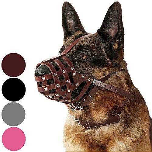 Dog Mask Leather (CollarDirect Dog Muzzle German Shepherd Dalmatian Doberman Setter Leather Basket Medium Large Breeds Black Brown (L, Chestnut)