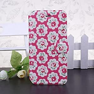 QJM Small Fresh Florals Pattern Pink Full Body Leather Case with Stand for iPhone 6