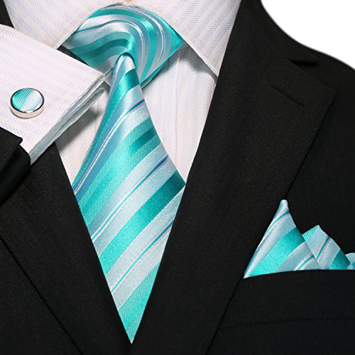 Neckie Green Tie Cufflinks Set Mens Various 18A83 Striped Hanky Landisun Bright Silk Rw6qPYx6A