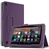 Infiland All-New Fire 7 Tablet Case - Slim Fit Folio Stand Cover Case for For All-New Fire 7 Tablet with Alexa (7th Generation, 2017 release), Purple