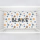 Carousel Designs Personalized Custom Solar System Crib Sheet Blake Idea - Organic 100% Cotton Fitted Crib Sheet - Made in The USA