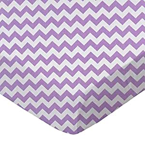 SheetWorld Fitted Pack N Play (Graco) Sheet - Lilac Chevron Zigzag - Made In USA