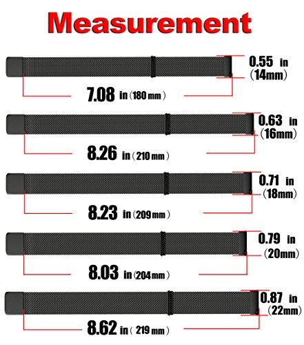 NotoCity 22mm Watch Band for Samsung Gear S3,Samsung Galaxy Watch (46mm),ASUS Zen Watch,Zenwatch 2 1.63'',Pebble time Watch,Moto 360 2nd men-46mm Watch Strap for Mens Womens- 22mm Black by NotoCity (Image #6)