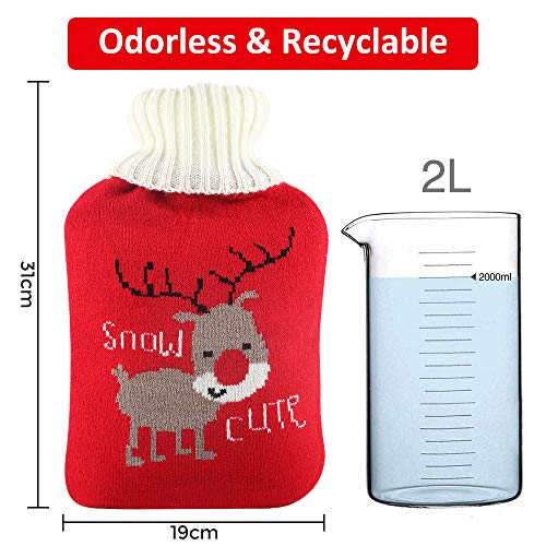 2L HOT Water Bottles with Soft Knitted Removable Cover,Thicker Higher Quality Rubber Bottle Santa Deer /& Panda Cute Knit Cover