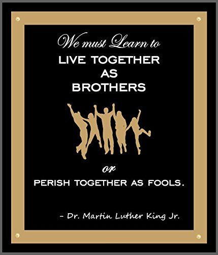 CozyHome 12 x 14 LED Wood Martin Luther King Framed Sign Live Together as Brothers with 4 LED Lights MLK005