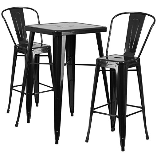 MFO 23.75'' Square Black Metal Indoor-Outdoor Bar Table Set with 2 Barstools with Backs
