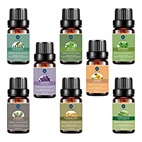 Aromatherapy Oils,Top 8 Essential Oils Set -Lavender,Tea Tree,Eucalyptus,Peppermint,Lemongrass,Frankincense,Orange,Rosemary,Therapeutic Grade