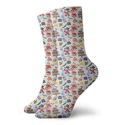 (Sports socks Holly Jolly Noel Wish Joyous Art Pattern of Snowman Owl Wood Sign Pine Biscuits Sports, travel)