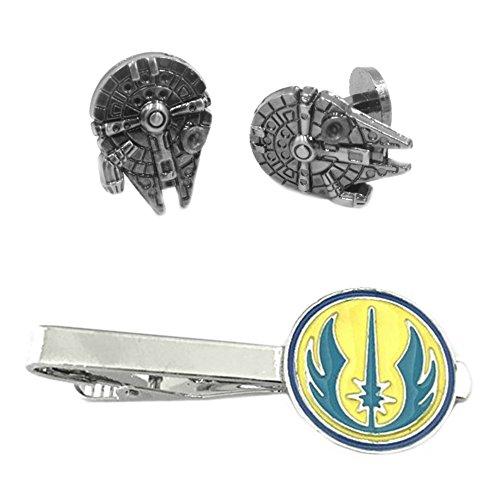 Outlander Millenium Falcon Cufflink & Jedi Tiebar - New 2018 Star Wars Movies - Set of 2 Wedding Logo w/Gift Box