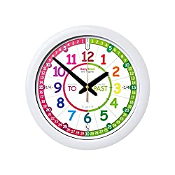 EasyRead Time Teacher Children's Wall Clock with simple 3 Step Teaching System. 12 dia, learn to tell the time, ages 5-12.